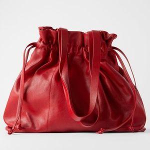 ZARA Leather shopper tote